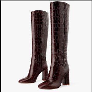 NWT Zara Croc Embossed Knee High Boots 36 6